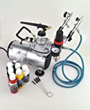 New Pro 3 Airbrush & Compressor Kit Dual-Action Air Brush + 6 Primary Createx Colors Set with Regulator and Pressure Gauge, Braided Hose, Holder For Art Tattoo Nail