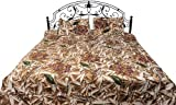 Exotic India Beige Batik Bedspread with Large Printed Flowers - Pure Cotton with Pillow Cases