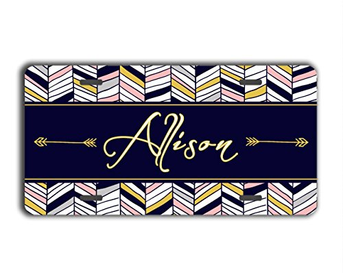 To Gild The Lily® Tribal monogrammed gift license plate - Navy blue and gold Aztec print - Personalized car tag car accessory (Personalized Car Accessories compare prices)