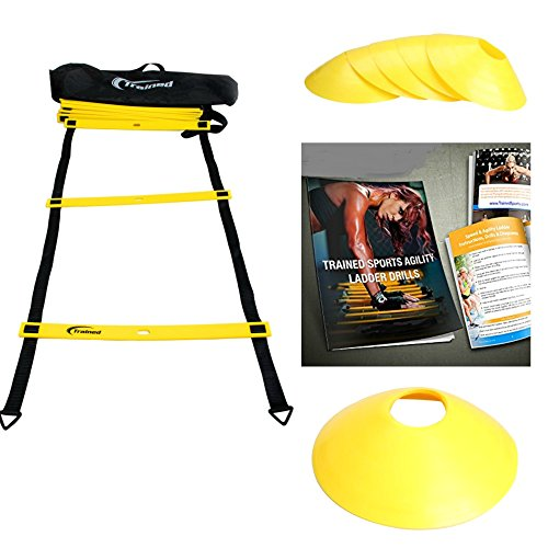Trained Agility Ladder Bundle with 6 Sports Cones , Agility Drills Ebook and Carry Case