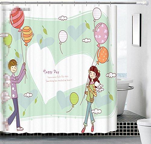 WHYGAO@ Salle de bain imperméable matelassée polyester mildiou est personnages de dessins animés de couleur rideau de douche , 1 , 180*200cm