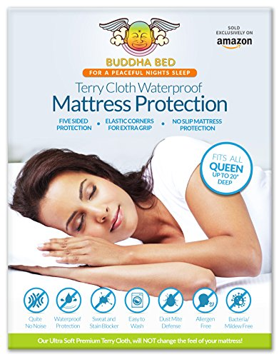 Queen Mattress Protector. 100% Waterproof- Blocks Sweat, Stains, Urine. Protection from Bed Bugs, Mites and Fleas. Ultra Soft-Premium, 5 Sided Cotton Terry Cover. Fits On All Mattresses!