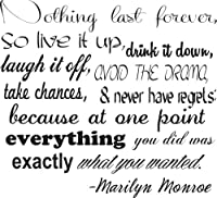 Marilyn Monroe Wall Decals-Nothing Last Forever Decal- Marilyn Monroe Wall Quotes from Global Sign Images, Inc