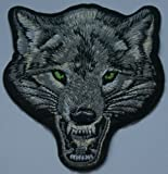 Wolf Head (Hint of Green) Iron on Sew on Embroidered Patch Badge Applique Motif