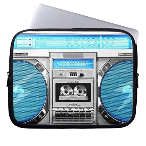 oliyneCo Blue Boombox Neoprene Laptop