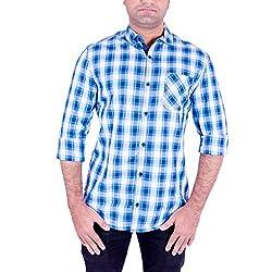 Enovate Men's Slim Fit Cotton Shirt (1022S_Multi-Coloured_Small)