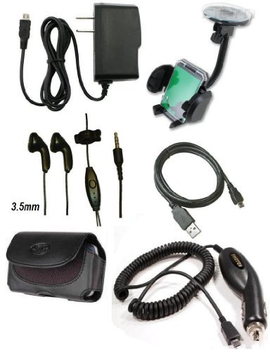 Car Auto Charger + Home Travel Charger + Leather Cover Case + USB Sync Data Cable + Stereo Handsfree Headset + Car Kit Vent and Windshield Suction Mount Holder for T-Mobile HTC Sensation 4G Cell Phone - BestCellBuy Brand