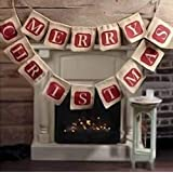 NUOLUX Merry Christmas Jute Burlap Banners,Christmas Banner,Christmas Decoration (Color: Brown)