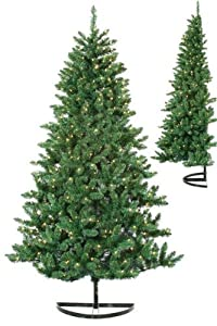 Pre lit bavarian pine artificial half wall christmas tree clear
