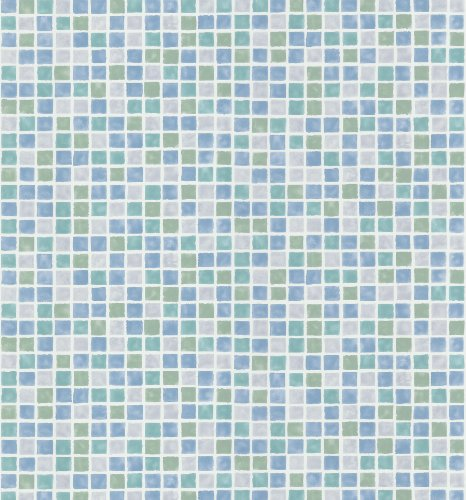 Brewster 414-58753 Corfu Aqua Tiles Wallpaper