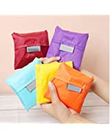 FINEX Reusable Shopping Tote (Set of 5) Travel Recycle Bag - Fold-able to Save Space -Various Color-