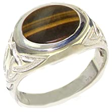buy Solid 925 Sterling Silver Natural Tigers Eye Mens Signet Ring - Size 6.25 - Sizes 6 To 13 Available