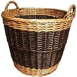 JVL Log Basket Two Tone Willow 39 x 30 cm