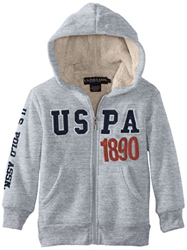 U.S. Polo Assn. Little Boys' Classic Fleece Hooded Jacket With Sherpa Lining, Light Heather Gray, 3T