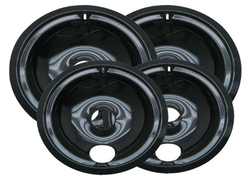 Organize Kleen P119204X Porcelain GE Drip Pans Set Of 4 Containing 2 Units P119, P120, Black