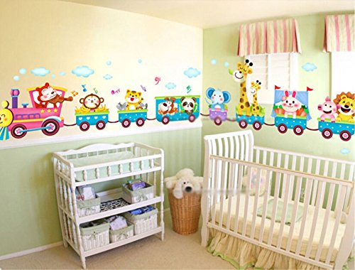 Hot sale Safari Animals Train Wall Stickers Nursery Decor Baby Kids Art Mural Removable (Salt Life Car Decal Large compare prices)