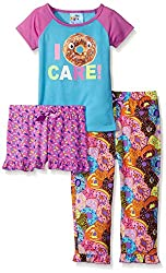 Bunz Kidz Little Girls I Donut Care 3 Piece Spring Sleepwear Sets, Multi, 3T