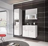 Badezimmermöbel Montreal 60cm wastisch Hochglanz Weiß -...