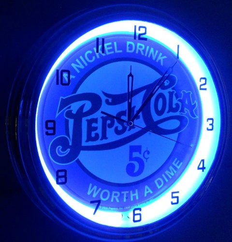 "PEPSI COLA - 5 CENTS WORTH A DIME 15"" NEON LIGHTED WALL CLOCK POP SHOP BAR VINTAGE STYLE GARAGE SIGN BLUE 3"