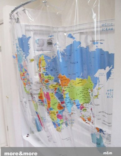 The World Map Hookless Fabric Shower Curtain Yanfang