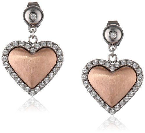 Stainless Steel Rose Gold-Plated Heart And Crystal Earrings