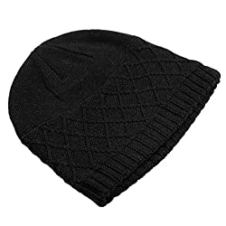Home Prefer Men's Winter Outdoor Solid Simple Watch Hat Cable Knit Beanie Cap Black
