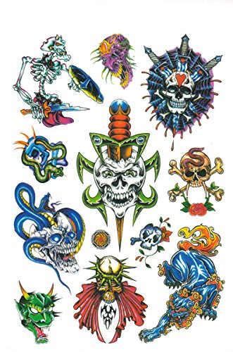 6-sheet Temporary Tattoo Book, Awesome Skull Tattoos Halloween Collection Ii 8 sheets package temporary jewelry tattoos metallic tattoo fashion accessory body art tattoos