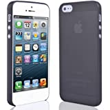 JJOnline Ultra Thin Cases Covers Skins For Apple iPhone 5 5G - Black Frosted Effect Gel Silicone Rubber