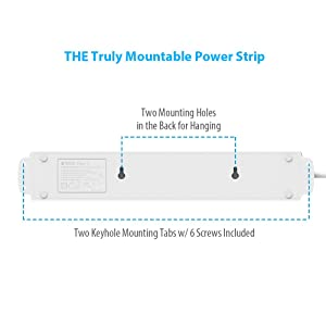 TROND Wall Mountable 4-Outlet Power Strip with 4 USB Ports, 6.6ft Long Cord, Angled Flat Wall Plug, for Desk, Nightstand, End Table, Dresser, Workbenc
