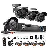 Sistema de Vigilancia Sannce de 8 canales  960H DVR con 4 cámaras  900TVL con visión nocturna superior y cubierta de metal contra agua, con salida HDMI/VGA/BNC.