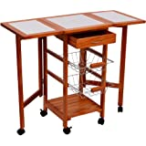 HomCom Portable Rolling Tile Top Drop Leaf Kitchen Trolley Cart
