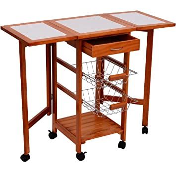 Fabulous HomCom Portable Rolling Tile Top Drop Leaf Kitchen Trolley Cart