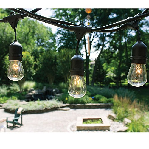 48 Ft String Lights with 24 Lights (Plus 6 Extra S14 Bulbs and 13 Ft Outdoor Extension Cord) for Outdoor & Indoor Use - Perfect for Wedding Lights, Bedroom Lighting, Dancing Lights, Party Light & More