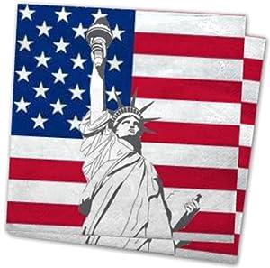 20 SERVIETTEN USA 3lg.33x33cm MIT MOTIV FREIHEITSSTATUE TISCHDEKO AMERIKA