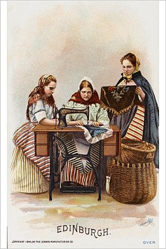 Photographic Print Of Ladies From Edinburgh Using A Singer Sewing Machine