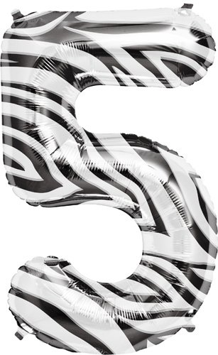 "Zebra Stripe Number Five ""5"" Mylar Balloon - 34"" Inch - 1"