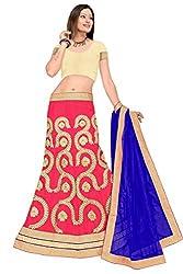 Pushty Fashion Pink and Blue Net Embroidered Lehenga