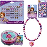 3-Piece Disney Jr. Princess Sofia The First Gift Set - Princess Sofia The First Necklace, 24 Pairs of Sofia Stickers Earrings and 1 Pack Sofia Bracelets & Ring Set Plus 1 Pack Sofia Stickers