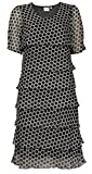 Womens Ladies Signature Casual Fashion Spot Short Sleeve Black Layered Evening Dress
