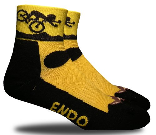 RHINO SOCKS SS series, Endo, black/yellow, anklet sports cycling biking hiking running socks