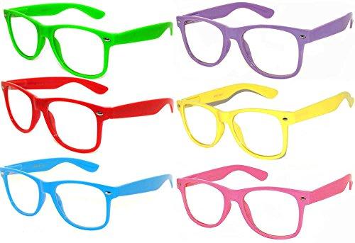6 Pack Classic Vintage Wayfarer Nerd Clear Lens Sunglasses
