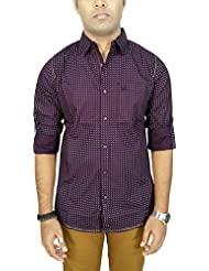 AA' Southbay Men's Dark Wine Printed 100% Premium Cotton Long Sleeve Casual Shirt