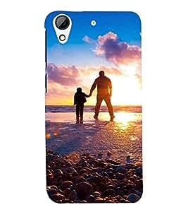 Printvisa Premium Back Cover Father Son At Sun Set Design For HTC Desire 728g Dual::HTC Desire 728G::HTC Desire 728