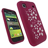igadgitz Pink & White Flower Design Silicone Skin Case Cover for Samsung i9 ....