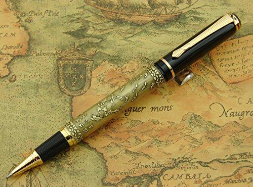 De caballo bronce chino dorado Lanxivi Baoer bolígrafo de punta rodante Superior funda de regalo