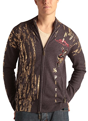 Ed Hardy Mens Fire Snake With Rhinestone Sweater - Grey - Large