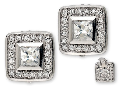Princess-Cut Round C.Z. Diamond Square Stud Earrings (Nice Holiday Gift, Special Black Firday Sale)
