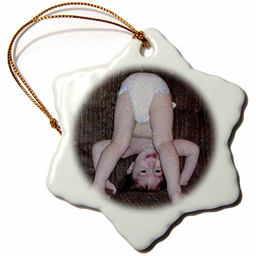 3dRose orn_36700_1 Funny Baby Oil Painting Snowflake Porcelain Ornament, 3-Inch - 1