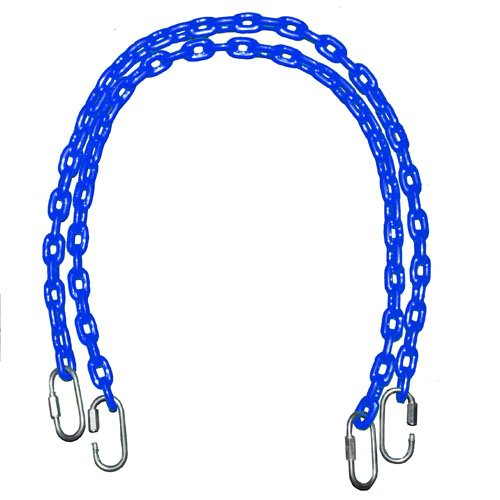 Fully Coated Chain 85 Inch Long + 4 Free Quick Links On Both Sides In Blue Waterproof Chain Swingset Seat, Baby Swing, Toddler Swing, Trapeze Bar Playground Equipment Chain, Jungle Gym 2 (1 Pair) (Free Priority Shipping In Continental Usa) front-96146