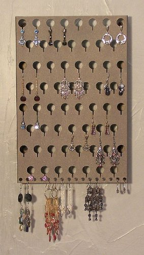 Angelynn's Slim Earring Angel Pierced Earring Holder & Body Jewelry Organizer - Hanging Wall Mount Earring Tree Storage Rack (Stardust Silver-EAS)